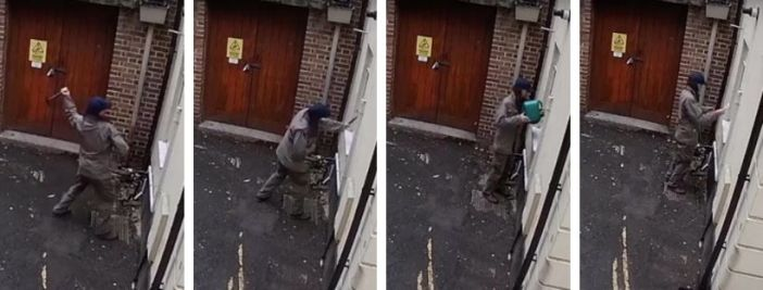 Photos of Tristan Morgan smashing a window, pouring petrol into the synagogue and setting it alight