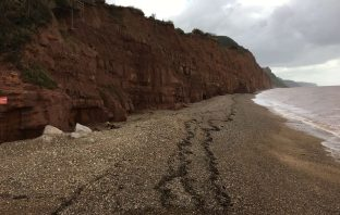 The coastline from Sidmouth towards Salcome Regis.