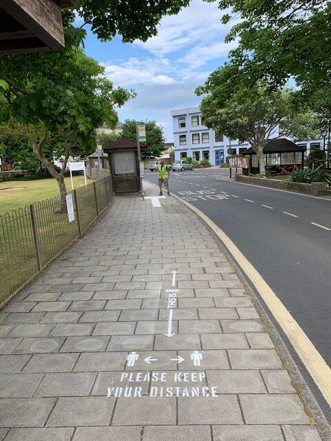 Two-metre social distancing markings have been stencilled on pavements around Sidmouth town centre. Picture: Cllr Stuart Hughes