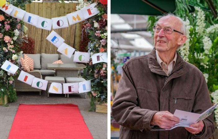 Ottery Otter Garden Centres rolled out the red carpet for Lionel Smith on his 95th birthday. Pictures: (left) Sue Cade/(right) Tony Seculer