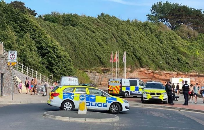 Police patrolling Orcombe Point in Exmouth. Photo: Darrell Trigs.
