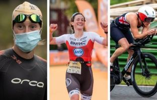 Katrina Matthews, from Exmouth, is the reigning European triathlon champion. Picture, centre, courtesy of Ian Baker. Pictures left and right courtesy of @KMTri_Coaching