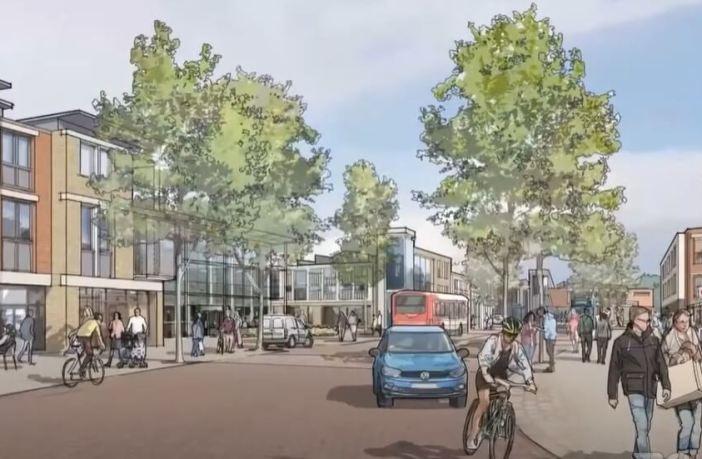 An artist's impression of plans for Cranbrook town centre. Image: East Devon New Community Partners