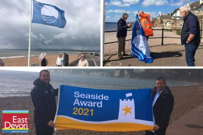 Top, left - Exmouth's Blue Flag. Top, right - Sidmouth's Blue Flag. Bottom - Cllrs Dan Ledger and Marcus Hartnell in Seaton. Images: East Devon District Council
