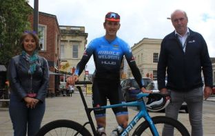 Exeter (l-r) Cllr Amal Ghusain, Freddie Scheske and Cllr Stuart Hughes ahead of this year's Tour of Britain. Image: Devon County Council