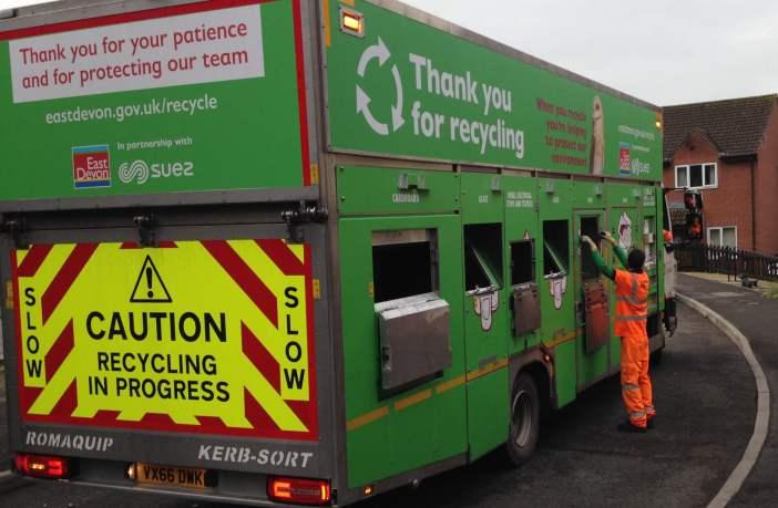 An East Devon District Council recycling vehicle. Image: EDDC