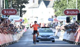 Robin Carpenter wins stage two of the 2021 Tour of Britain in Exeter (Swpix). Image provided by Devon County Council