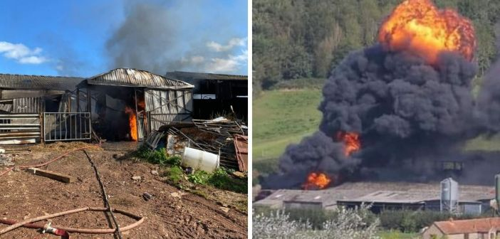 Fire crews from three counties tackle blaze in East Devon farm workshop