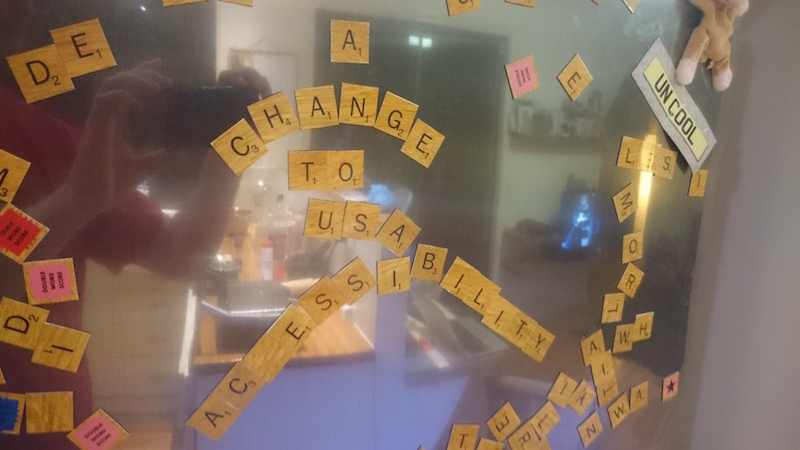 Scrabble fridge magnets spelling out accessibility and usability