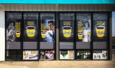 coffee decals on storefront windows