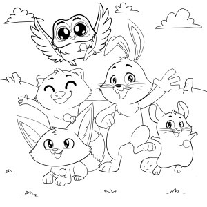 Easter Bunny Helpers Coloring Page
