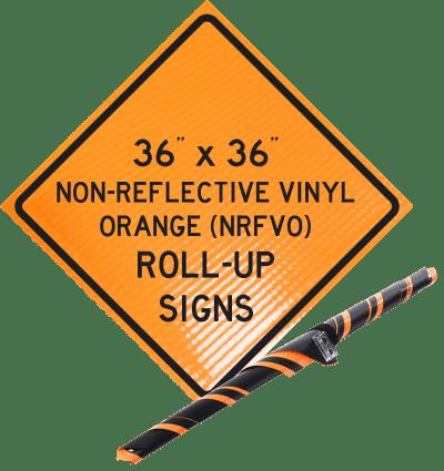 reflective vinyl orange roll up signs