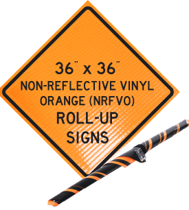reflective vinyl orange roll up signs