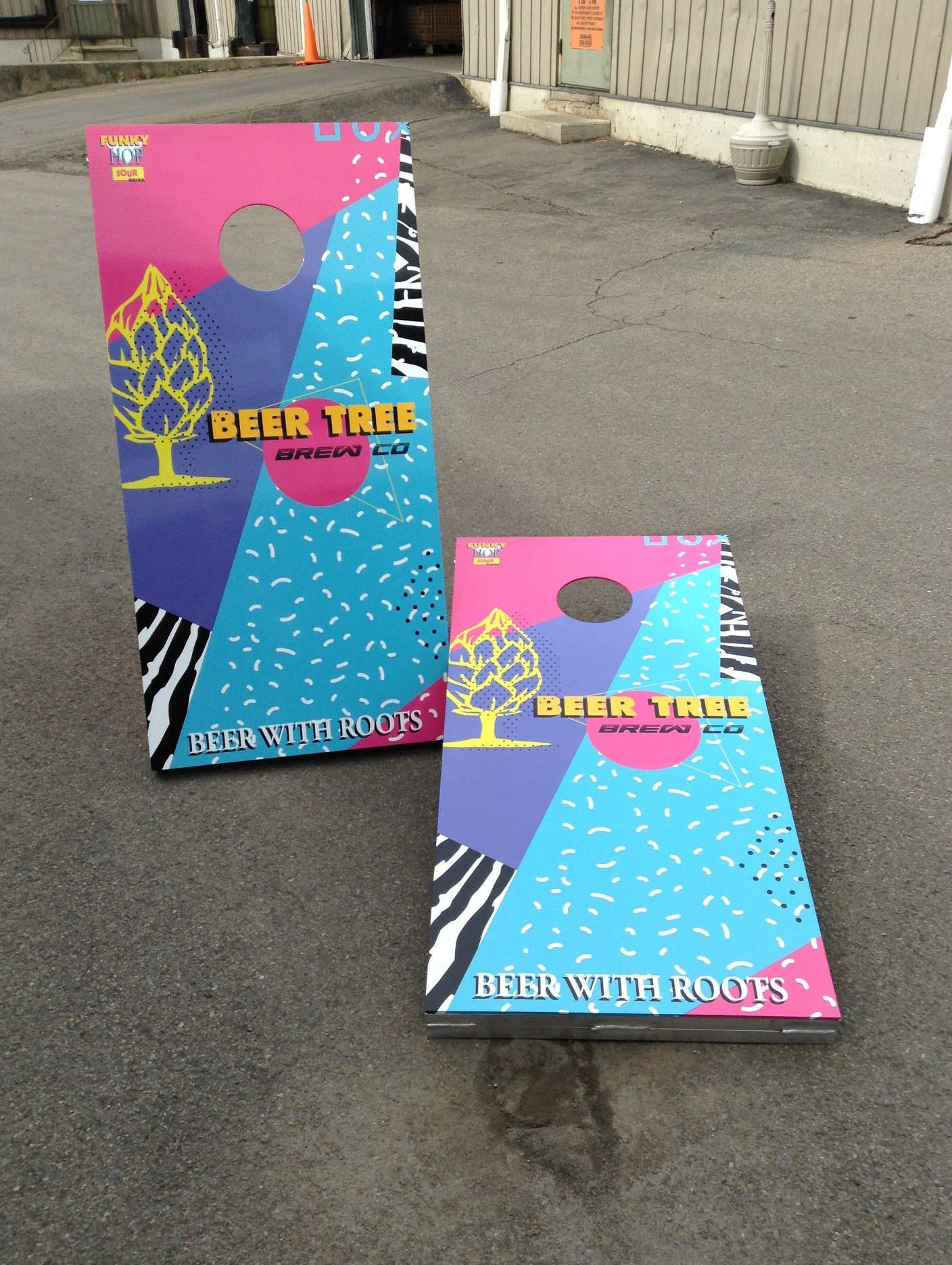 cornhole boards, custom made, beer with roots 80s 2
