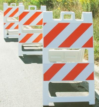 plastic barricades type II in use