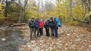 Beginner backpacking group on the Neversink Rier