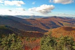 Catskill Guided Hiking and Lodging. Autumn view of Slide Mountain, Giant Ledge and Panther Mountain.