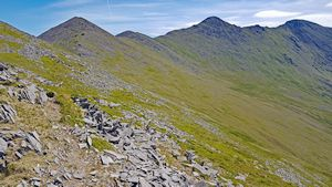 Looking over some of the Skregmore summits towards Beenkeragh and Carrauntoohil