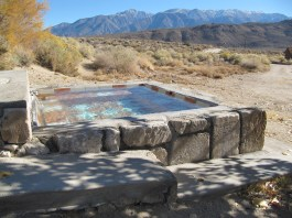 One of our favorite hot tubs at Benton Hot Springs campground, with beautiful views of the White Mountains in the distance.