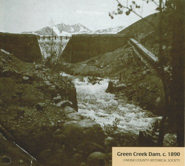 The Green Creek Dam, located just upstream from the property, supplied power to the Bodie Mines.