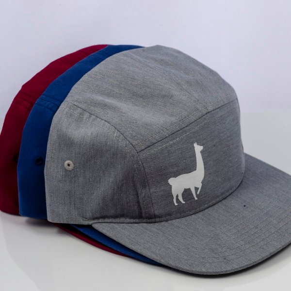 East Fork Cultivars Llama 5-Panel Hat in Heather Gray, Navy, and Berry