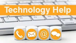 Technology Help text with a keyboard and common technology icons