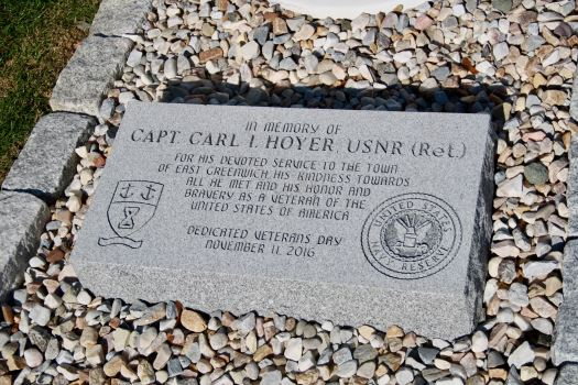 The memorial to Carl Hoyer, Navy veteran and longtime parade organizer.