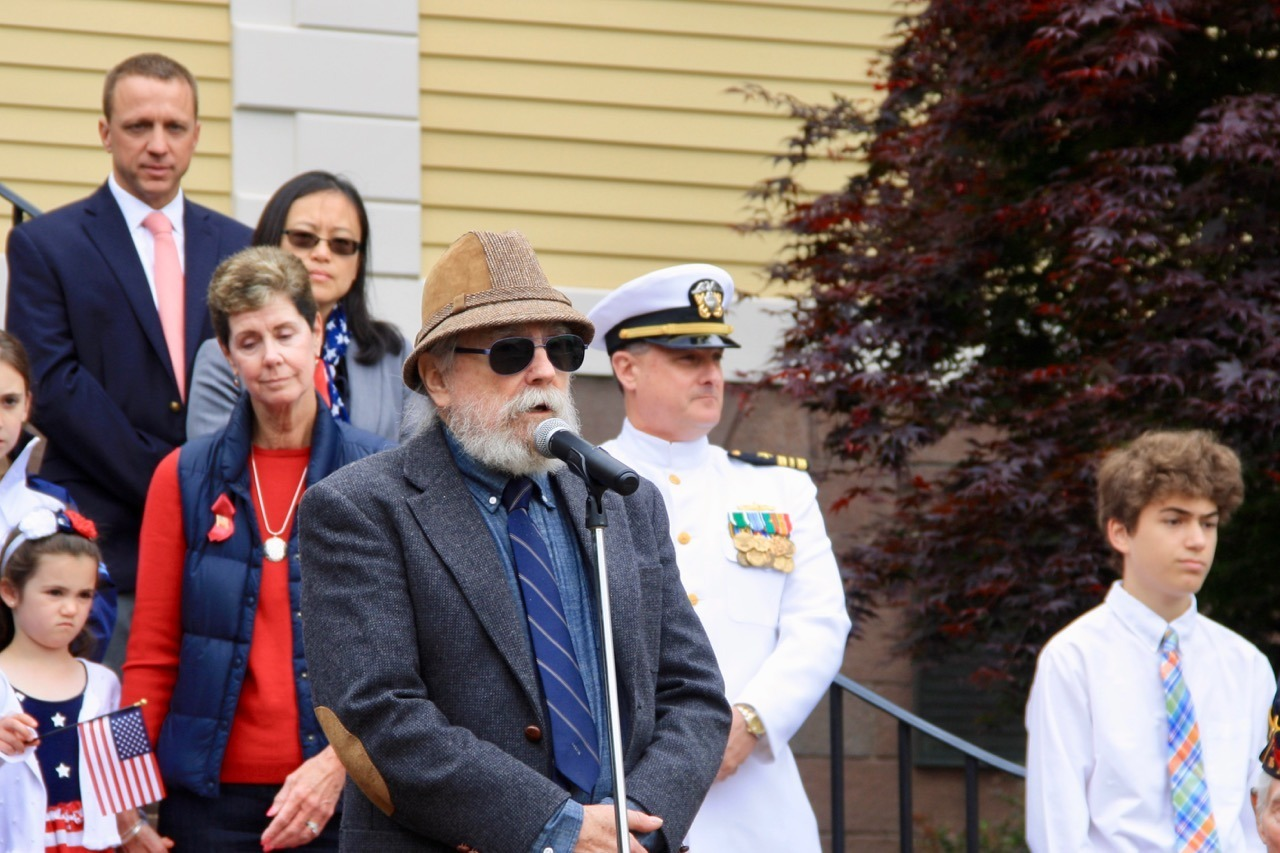 Grand Marshal Alan Clarke spoke about Jacob Campbell, who on this very spot 235 years ago, recited the treaty that ended the Revolutionary War.