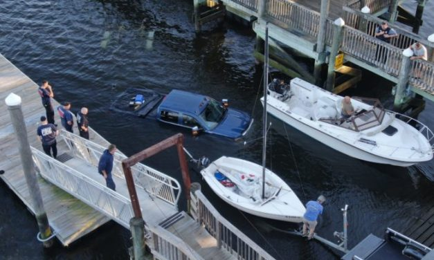 Truck Takes Drink in Greenwich Cove