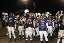 #2 Chris Alexander, #53 Isaiah Flores, & #5 Frank Saucedo IV lead team's final acknowledgment of their loyal fans.