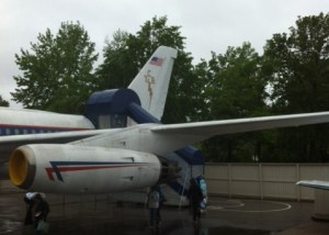 The logo on the back of the plane is a lightening bolt - letters stand for Taking Care of Business.
