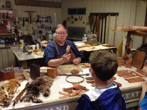 Ozark Folk Center, learning about leather crafts
