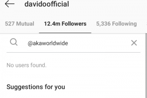 Davido Unfollows South African Rapper, AKA On Instagram (Photo)