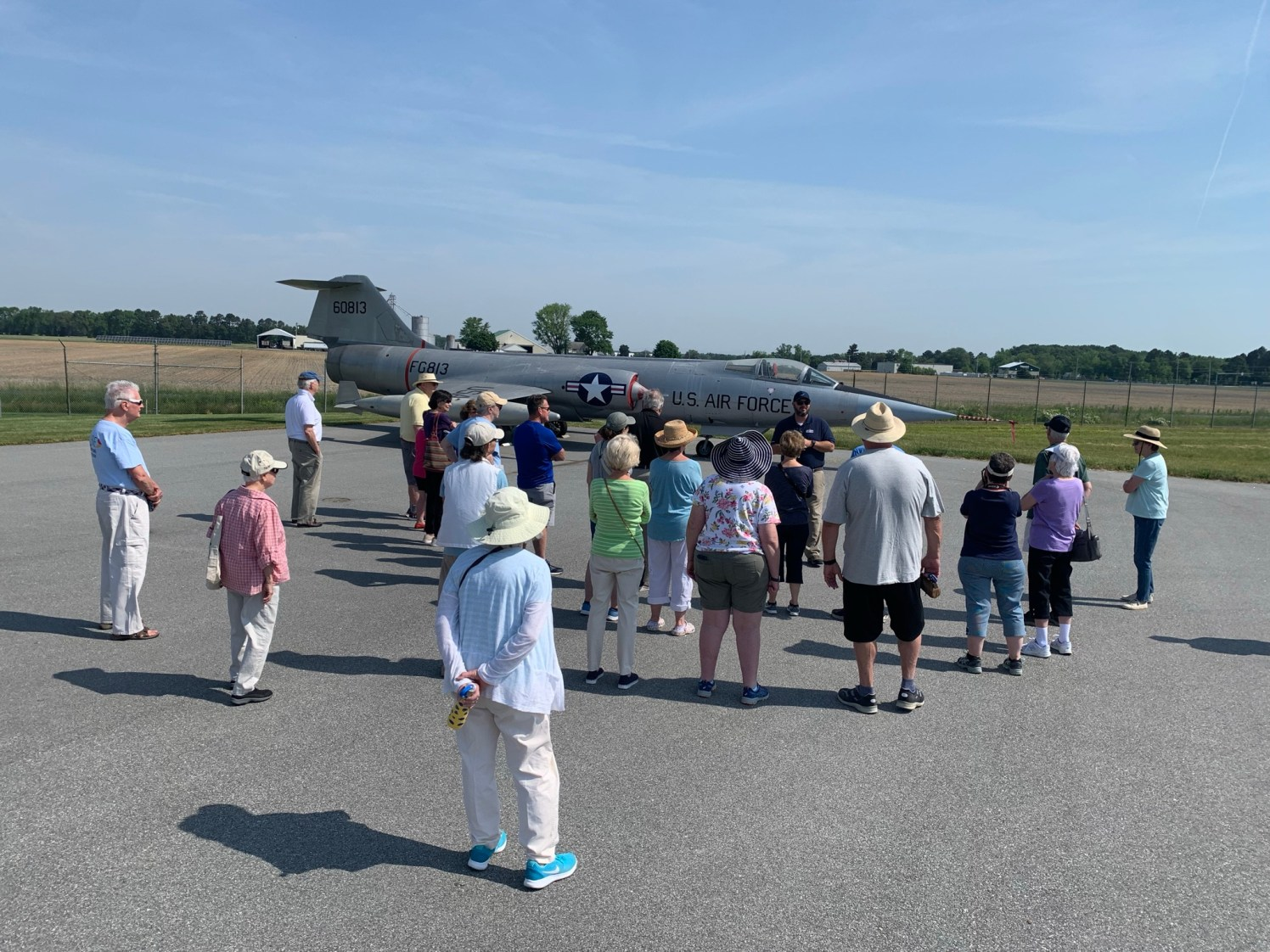 Easton Airport Manager Micah Risher talked about the F-104 Starfighter on display at the Easton Airport