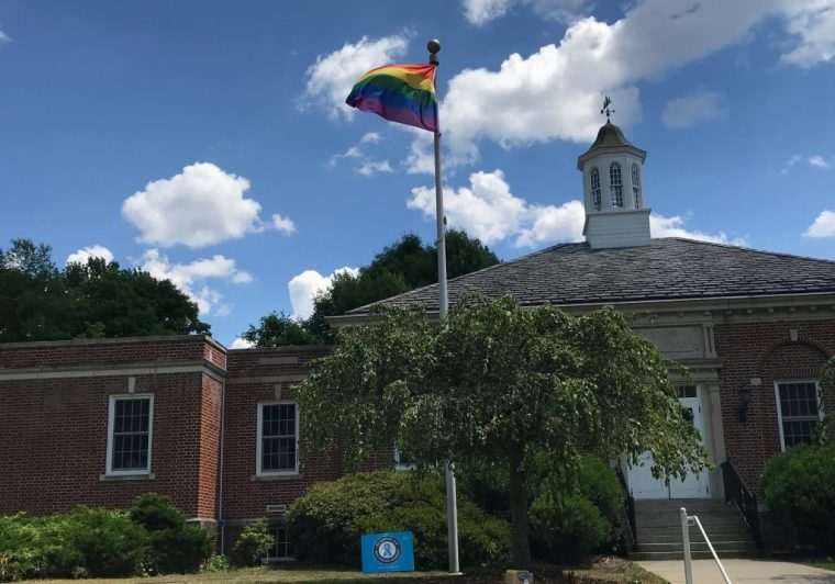 The pride flag flies above Easton Town Hall - Kelly Wendt photo