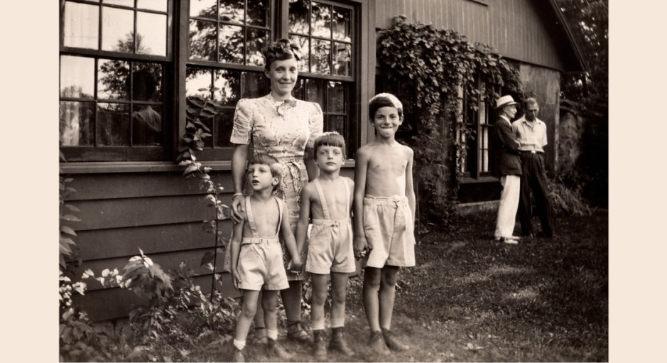 Louise Bourgeois with her three sons in Easton, CT in 1945.