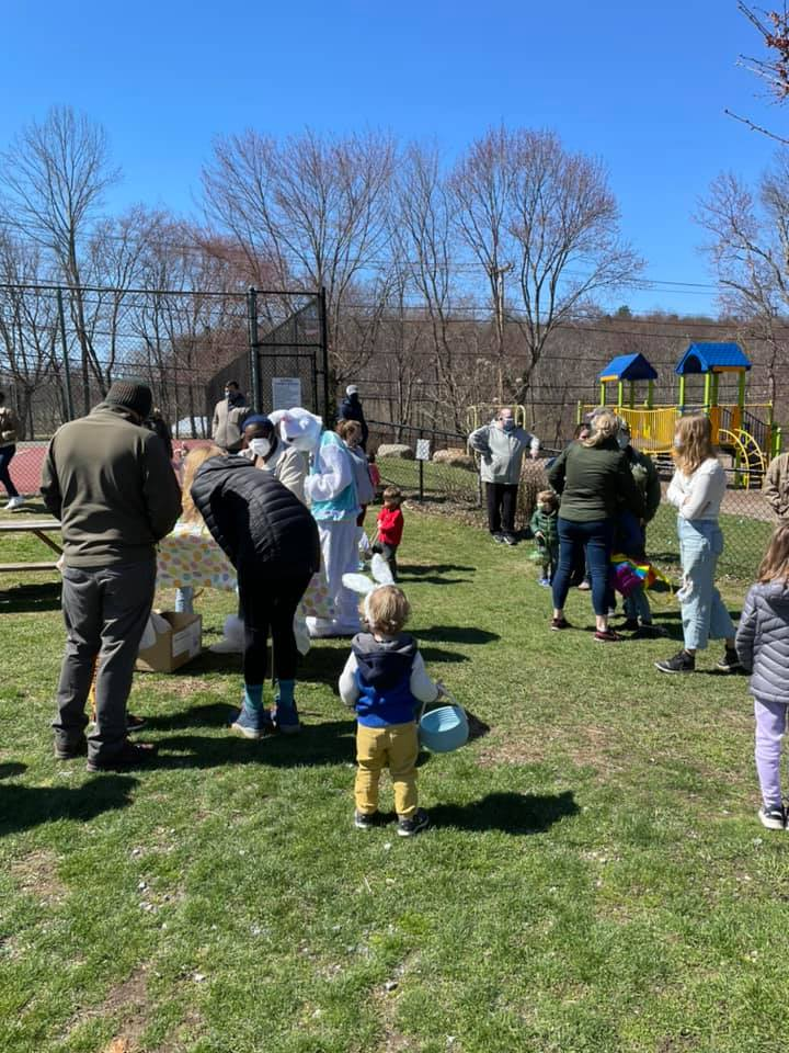 Easton Park and Rec Egg Hunt: Waiting to meet the Easter bunny.