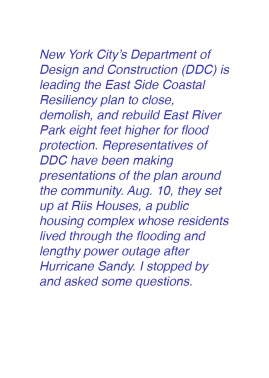 Department of Design and Construction (DDC) is leading the East Side Coastal Resiliency plan to close, demolish, and rebuild East River Park eight feet higher for flood protection. Representatives of DDC have been making presentations of the plan all over the community for months. Aug. 10, they set up at Riis Houses, a public housing complex whose residents lived through the flooding and lengthy power outage after Hurricane Sandy. I stopped by and asked some questions.