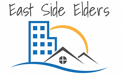 East Side Elders logo features a blue apartment building, house, sun, water and the text: East Side Elders