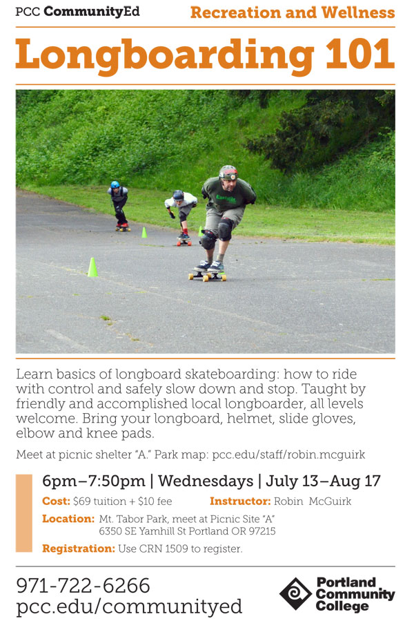 PCC Summer Term 2016 Poster for Longboarding 101.