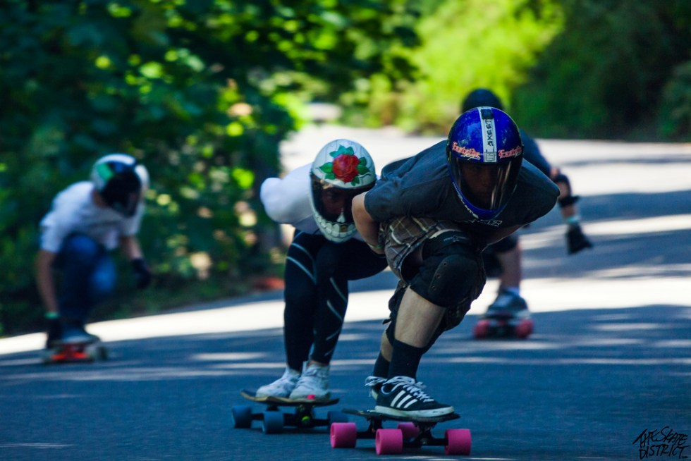 Eastside Dan Thatcher leading organizer Billy Meiners in a semi-final heat in 2013. Photo by Skate District.