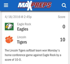 Lincoln Tigers vs Eagle Rock Eagles Softball 2016