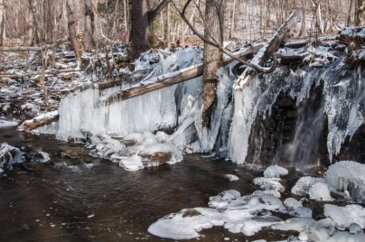 Another view of elaborate ice formations at the Gillette Pond dam.