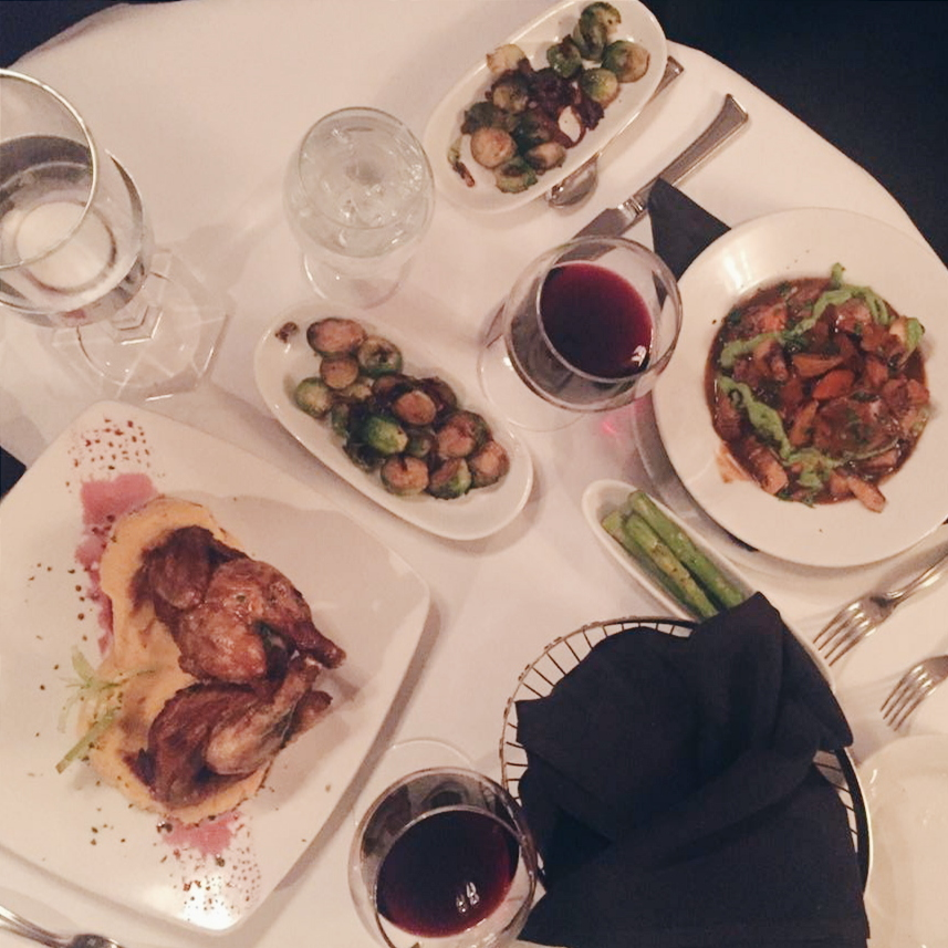 The table-setting at J Frank's, including the owner's recommended osso buco, Cornish hen and brussel sprouts.
