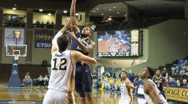 Men's basketball against UC Irvine in Sanford Pentagon Showcase. Photo by Jason Salzman.