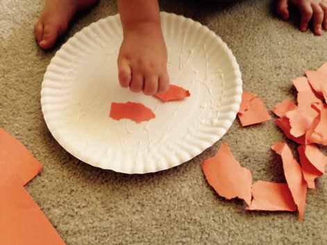 Glueing paper for A Fun Pumpkin Craft for Young Children