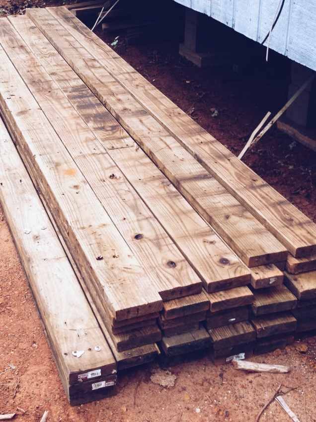 A stack of reclaimed lumber