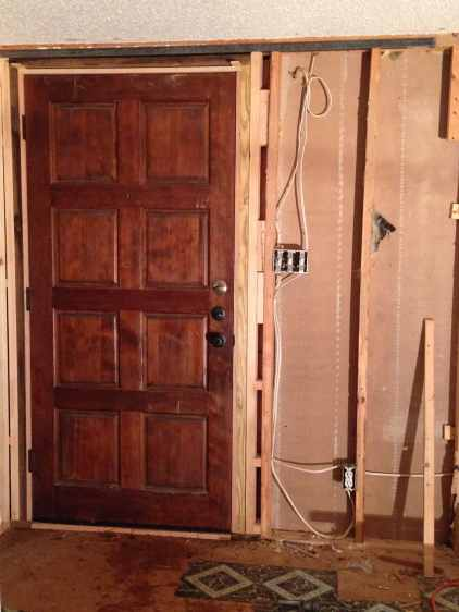 The inside view of our new front door.