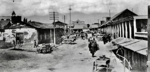 Main street in LA Chinatown @1882. Photo from Calif State Library.