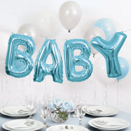 Baby shower blue world balloons
